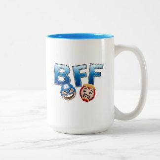 BFF Captain America & Iron Man Emoji Two-Tone Coffee Mug