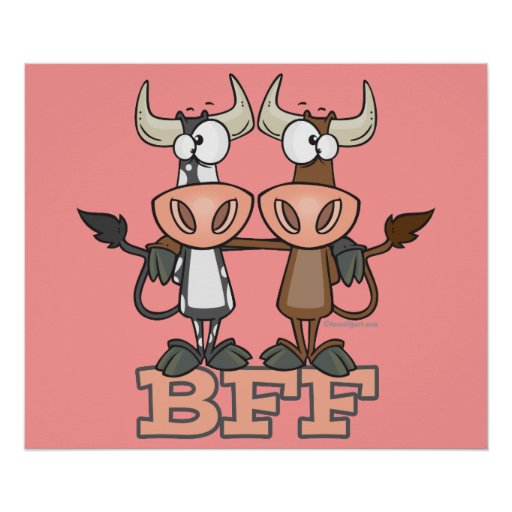 BFF cow best friends forever buddies Poster