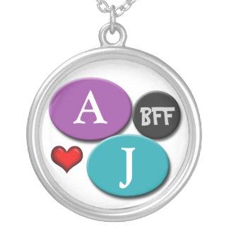 BFF Friendship Purple & Blue Round White Necklace