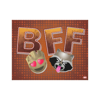 BFF Groot & Rocket Emoji Canvas Print