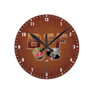 BFF Groot & Rocket Emoji Round Clock