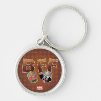BFF Groot & Rocket Emoji Silver-Colored Round Keychain