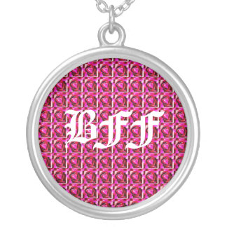 BFF Hearts Background Silver Plated Necklace