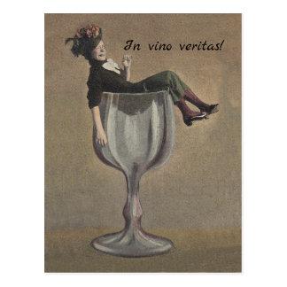 BFF in vino veritas  Postcard in wine, truth pc
