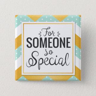 BFF someone so special happy gold minty chevron 2 Inch Square Button