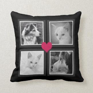 BFFs Cute Heart with Four Instagram Photos Throw Pillow