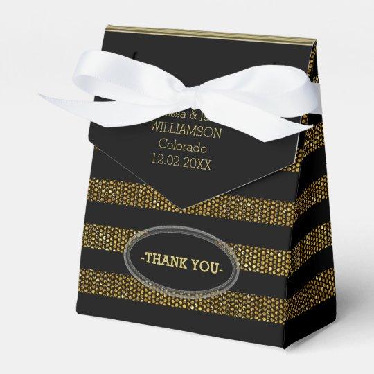 BG02 Glitter Gold & Black Stripes Party Favour Box Wedding Favor Boxes