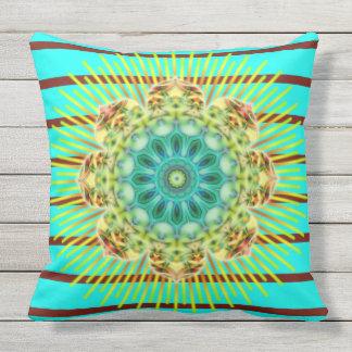 BG Stripes Pattern turquoise & mandala + your back Throw Pillow