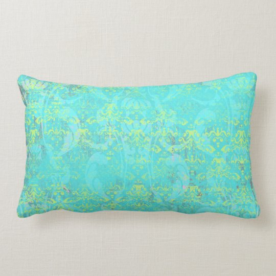 BGTPD TROPICAL DAMASK PATTERN LIGHT BLUE YELLOW GR LUMBAR PILLOW