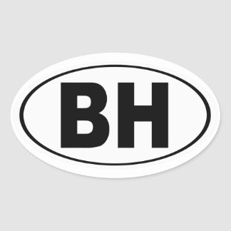 BH Beverly Hills California Oval Sticker