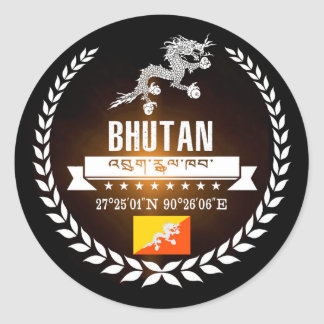 Bhutan Classic Round Sticker