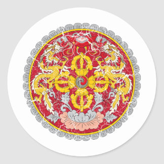 Bhutan Coat Of Arms Classic Round Sticker