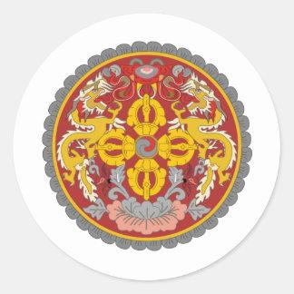 bhutan emblem classic round sticker