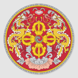 Bhutan emblem. Dragon motif Round Sticker