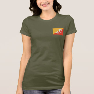 Bhutan Flag and Map dk T-Shirt