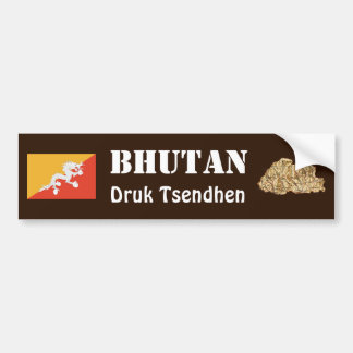Bhutan Flag + Map Bumper Sticker
