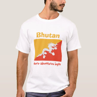 Bhutan Flag + Map + Text T-Shirt