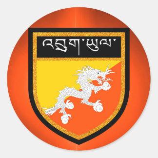 Bhutan Flag Round Sticker