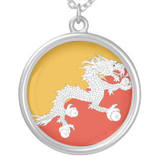 Bhutan Flag Silver Plated Necklace