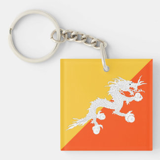 Bhutan Flag with Thunder Dragon Double-Sided Square Acrylic Keychain