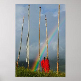 Bhutan, Gangtey village, Rainbow over two Poster
