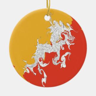 Bhutan Gnarly Flag Double-Sided Ceramic Round Christmas Ornament