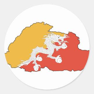 Bhutan map BT Round Sticker