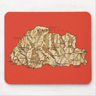 Bhutan Map Mousepad