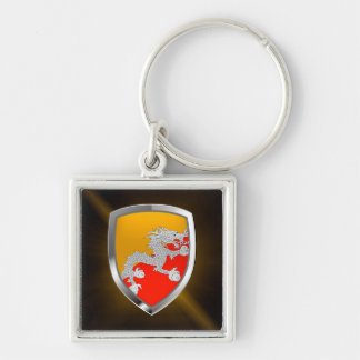 Bhutan Metallic Emblem Silver-Colored Square Keychain
