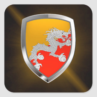 Bhutan Metallic Emblem Square Sticker