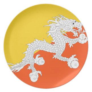 Bhutan National World Flag Dinner Plate