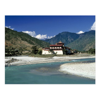 Bhutan, Punaka. The Mo Chhu River flows past Postcard