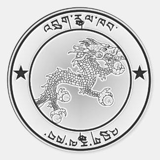 Bhutan  Round Emblem Round Sticker