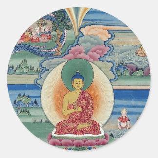 Bhutanese painted complete mandala classic round sticker