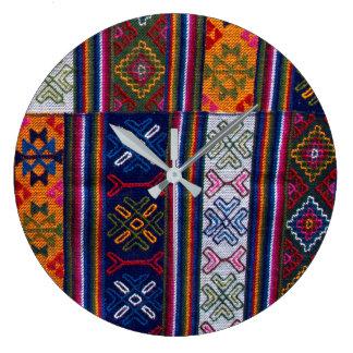 Bhutanese Textile Large Clock