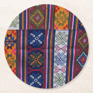 Bhutanese Textile Round Paper Coaster