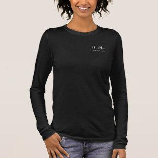 BHWT logo white on black vneck 3/4 sleeve Long Sleeve T-Shirt