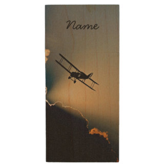 Bi Plane Sky Wood USB Flash Drive