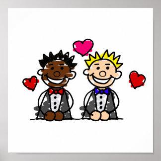 Bi-Racial Gay Grooms Posters