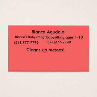 Bianca Agudelo, Bianca's Babysitting!, (541)977... Business Card