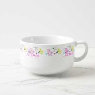 Bianca Logo With Kittens Butterflies Flowers, Soup Mug