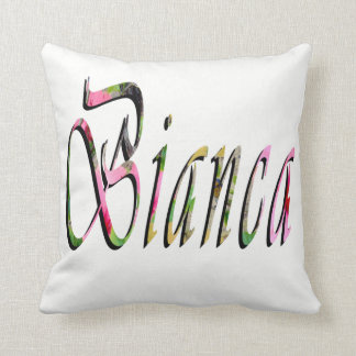 Bianca, Name, Logo, White Throw Cushion