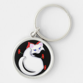 Bianca Toon Kitty with Red Flowers Keychain