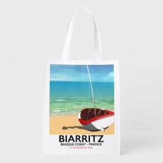 Biarritz France Beach travel poster Reusable Grocery Bag