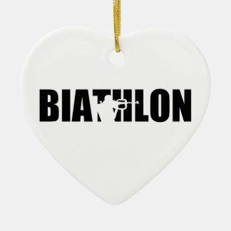 Biathlon Ceramic Heart Ornament