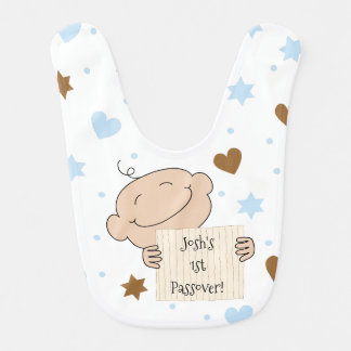 Bib Baby's Boy's 1st Passover Blue/Brown