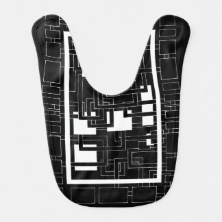 "Bib ""Labyrinth of squares"" black and white"