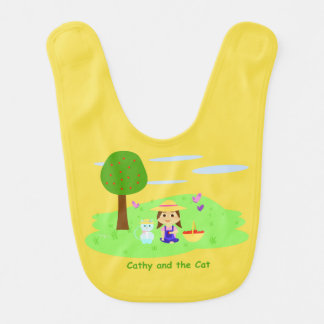 "Bib of ""Cathy and the Cat"" with apples"