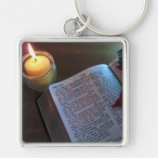 """Bible and Candle Large (2.00"""") Premium Square Keyc Keychain"""