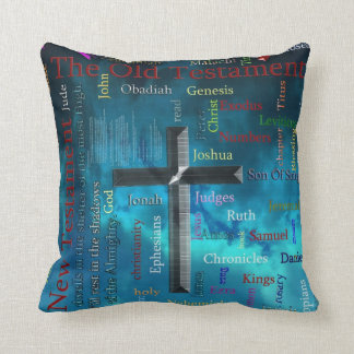 BIBLE and religion word cloud concept blue Throw Pillow